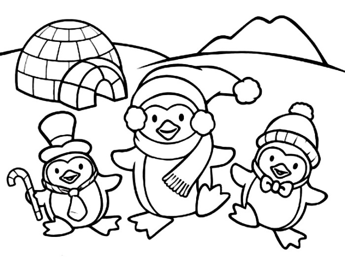 700x540 Christmas Penguin Coloring Pages