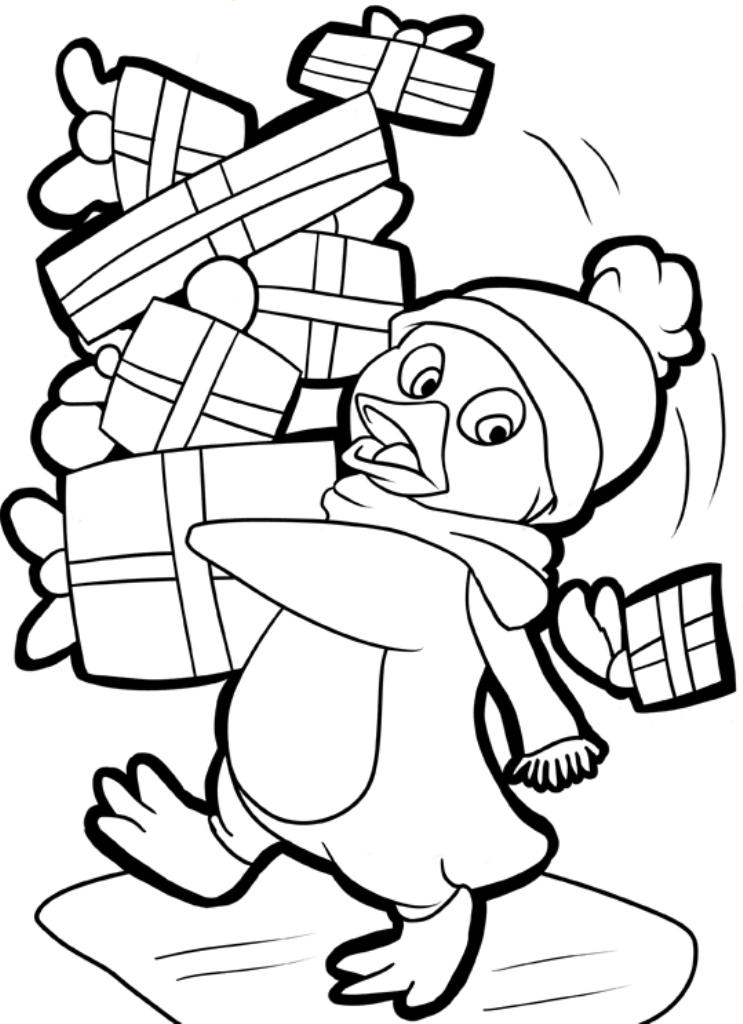 christmas penguin drawing at getdrawings | free download