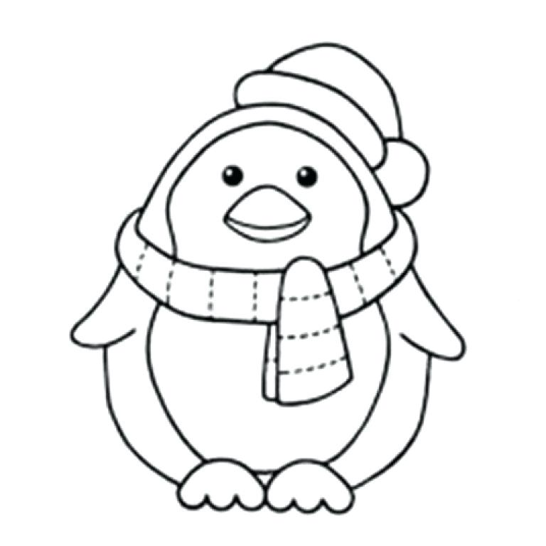 768x768 Christmas Penguin Coloring Pages As Penguin Coloring Pages Cute