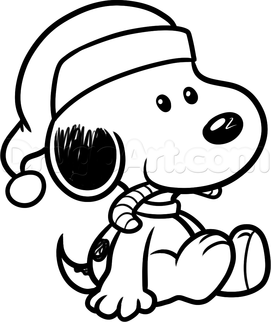 938x1116 How To Draw Christmas Snoopy Step 8 Charlie Brown And Friends