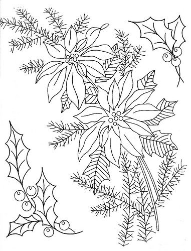 381x500 Holly Amp Poinsettia Embroidery Patterns Poinsettia, Embroidery