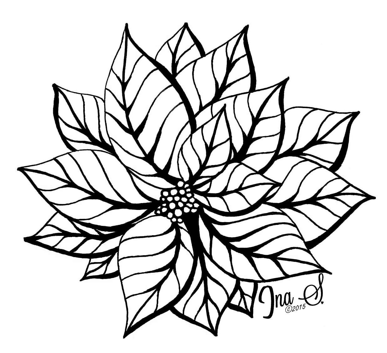 1237x1130 How To Draw Poinsettia Ina's Tangles