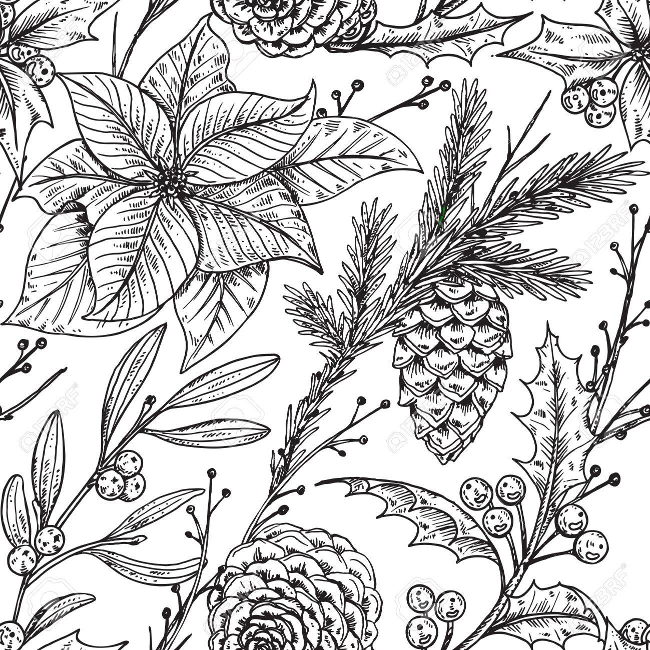 1299x1300 Seamless Pattern With Hand Drawn Winter Plants