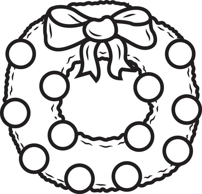 700x671 FREE Printable Christmas Wreath Coloring Page For Kids