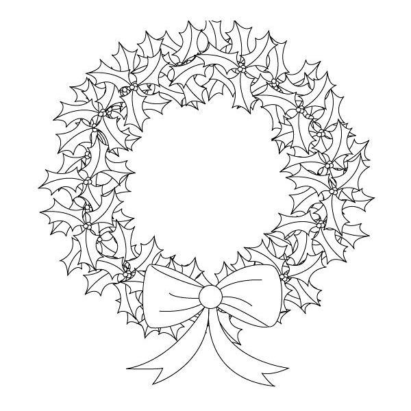 600x600 Holiday Wreath Drawing Christmas Wreath Drawing Images