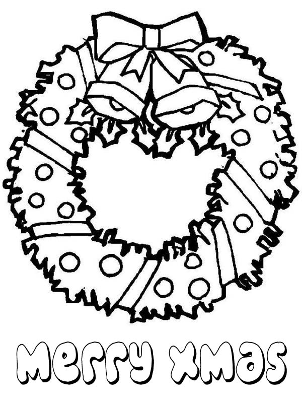 600x800 Lovely Christmas Wreath For Decoration Coloring Page