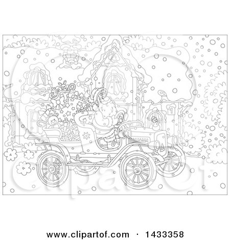 450x470 Clipart Of A Black And White Lineart Christmas Scene Of Santa