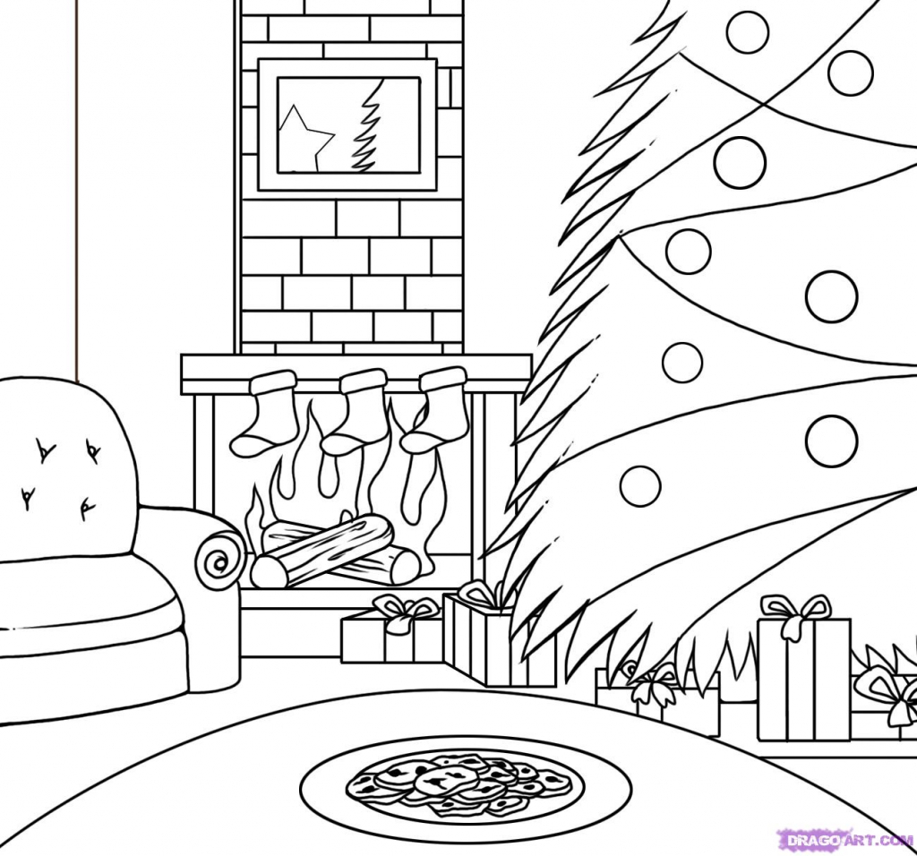 1024x956 Drawing Of Christmas How To Draw A Christmas Scene Step Step