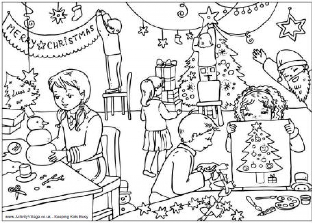 1024x726 Free Christmas Colouring Pages For Children Inside Christmas Scene