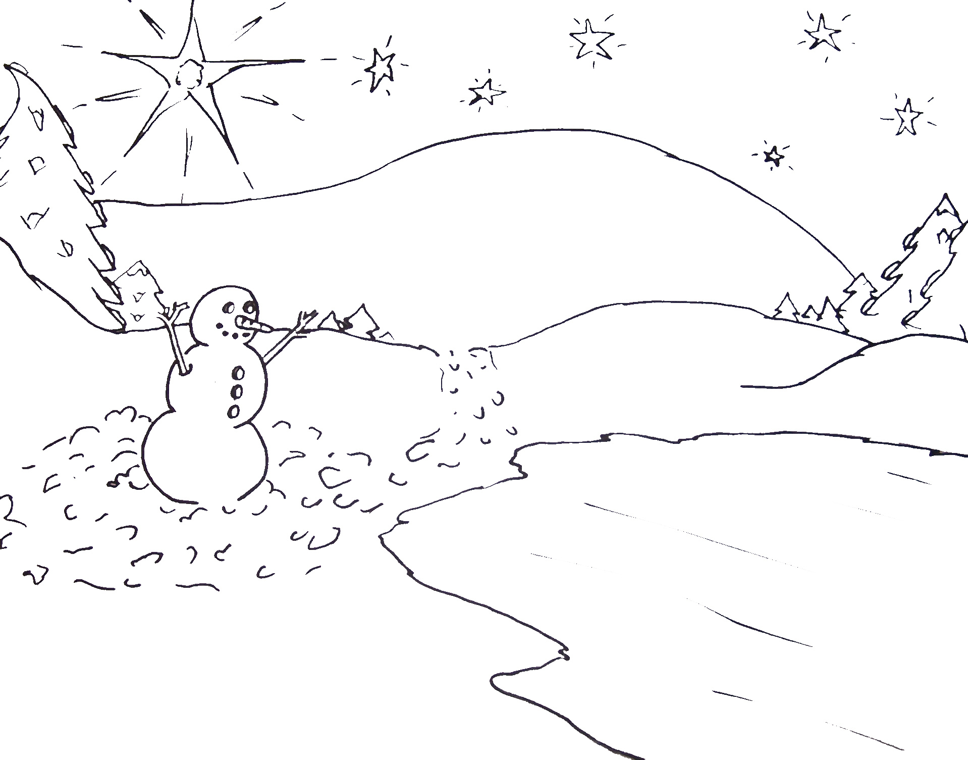 1918x1505 Free Printable Christmas Tree And Santa Coloring Pages