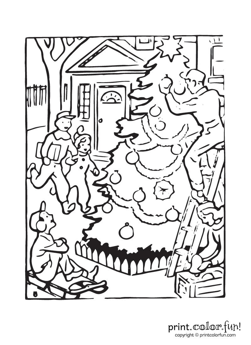 800x1100 Outdoor Christmas Tree Coloring Page