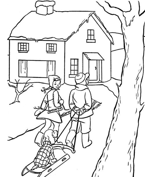 500x611 Vintage Christmas Scene Coloring Page