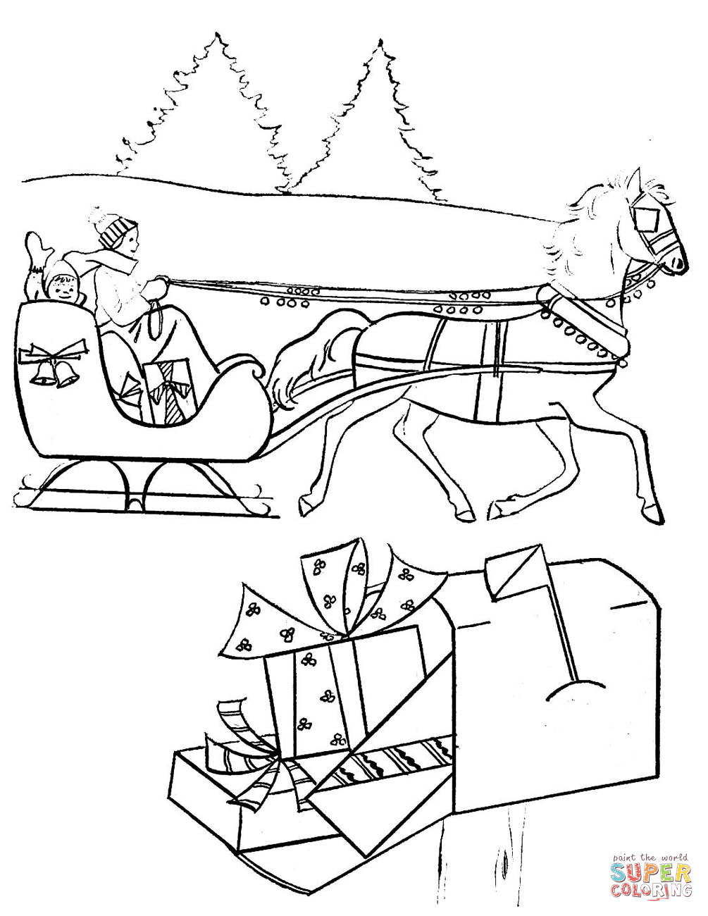 1005x1300 Christmas Scene Coloring Page Free Printable Coloring Pages
