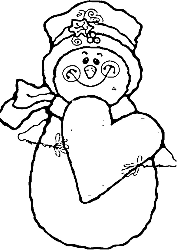 585x826 Snowman Smile With Love Coloring Pages For Kids