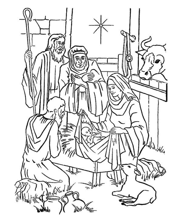 free christmas coloring pages manger shepherds wiseman | Christmas Stable Drawing at GetDrawings.com | Free for ...