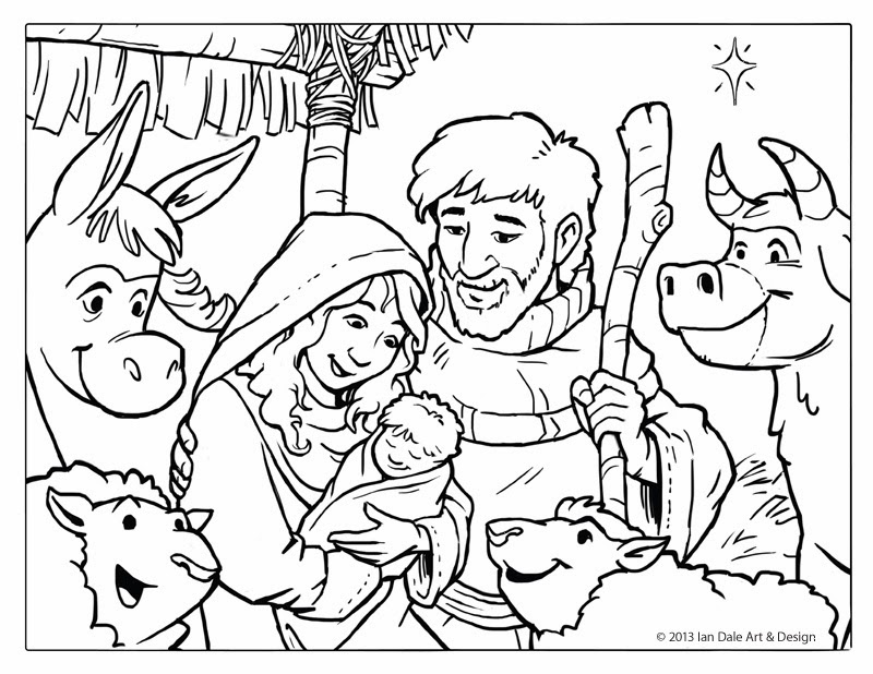 800x618 christmas nativity scene coloring pages