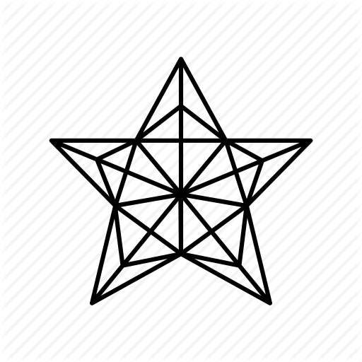 512x512 Christmas Tree Star Origami Outline