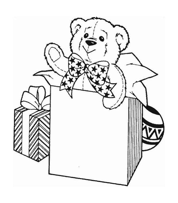 600x686 A Cute Teddy Bear For Christmas Presents Coloring Page