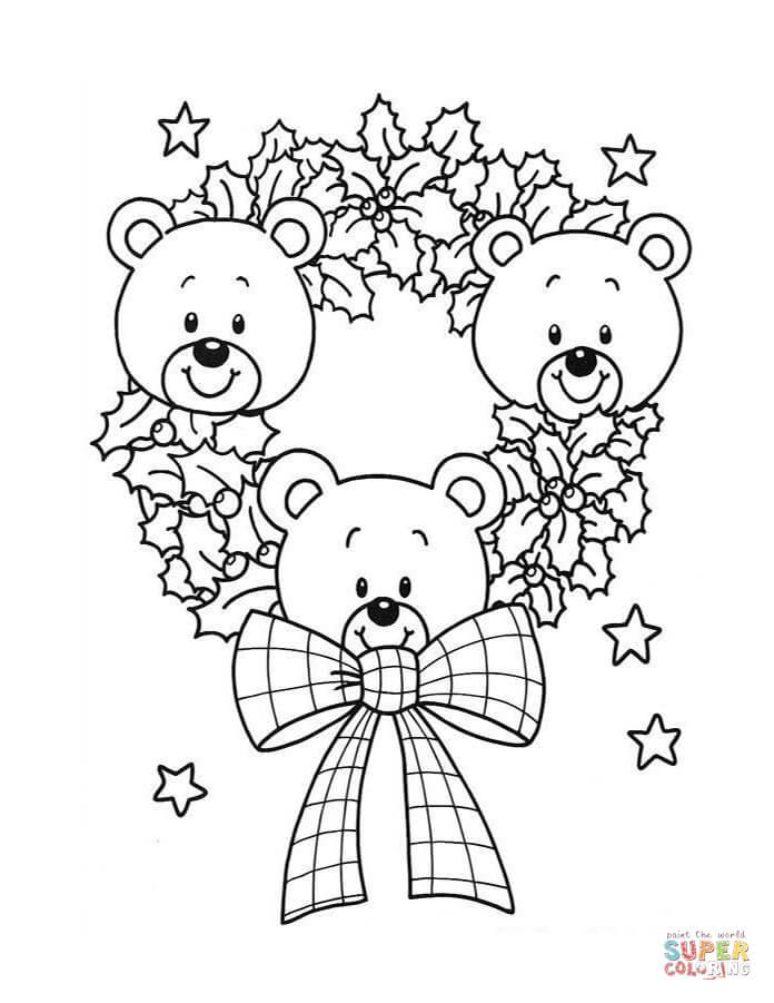 696x901 Christmas Wreath Of Teddy Bears Coloring Page Free Printable