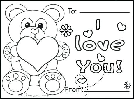 460x338 Valentines Color Pages Printable Valentines Day Cards Teddy Bears