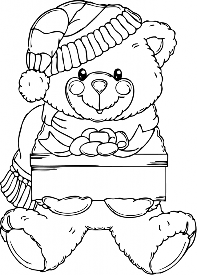 640x890 Christmas Bear Coloring Pages Teddy Bears