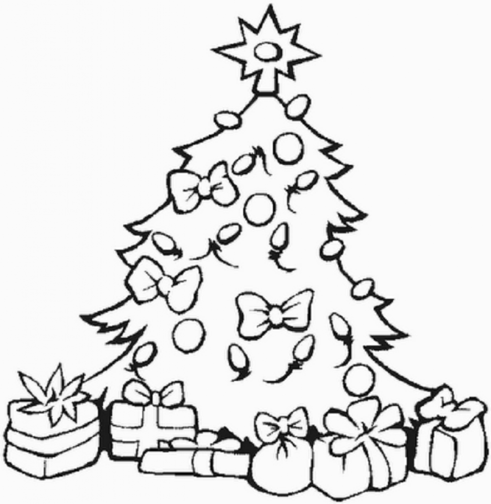 997x1024 Christmas Tree With Presents Drawing Coloring Page Of Christmas