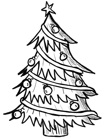 400x528 Coloring Pages Appealing Christmas Tree Drawing 09 Christmastree