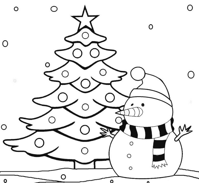 800x735 Christmas Tree Coloring And Sketch Drawing Pages