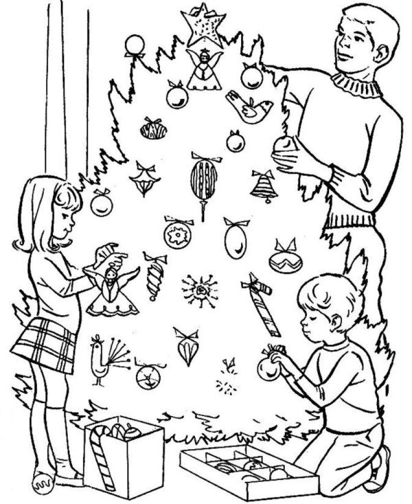 600x734 Decorating Christmas Tree Coloring Pages