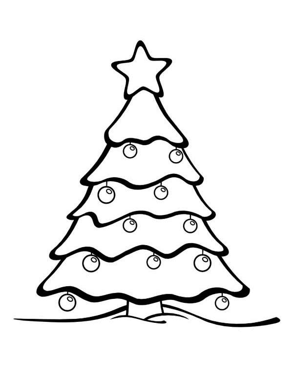 600x776 Gorgeous Christmas Tree On Winter Season Coloring Page
