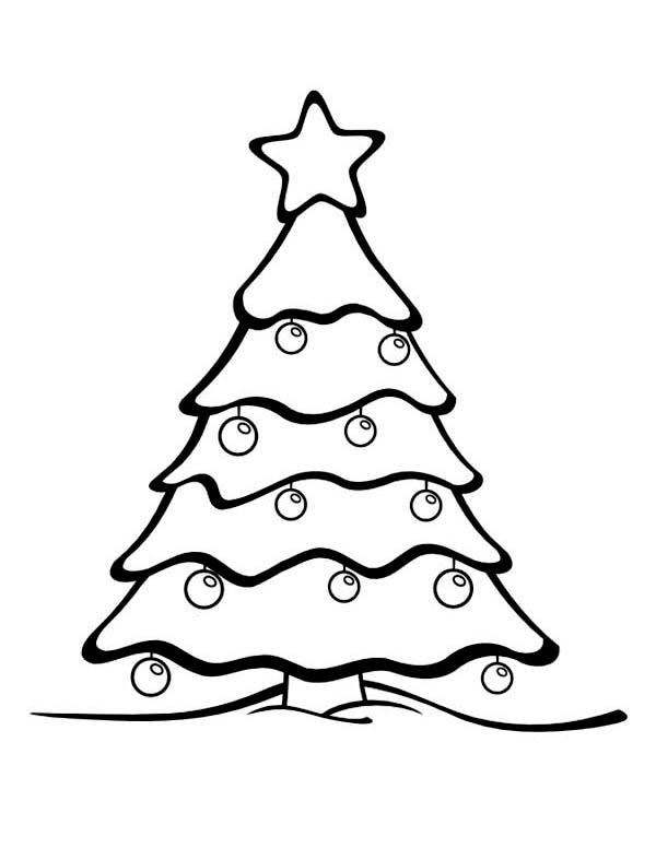 600x776 gorgeous christmas tree on winter season coloring page coloring - Coloring Christmas Tree