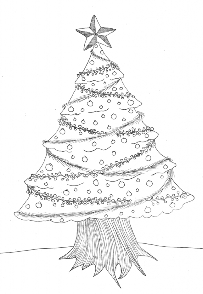 707x1024 Christmas Tree Pencil Drawing Christmas Tree Lineart Quiliny