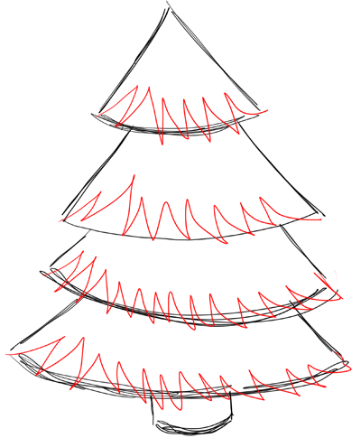 400x485 How To Draw Christmas Trees Step By Step Drawing Lesson