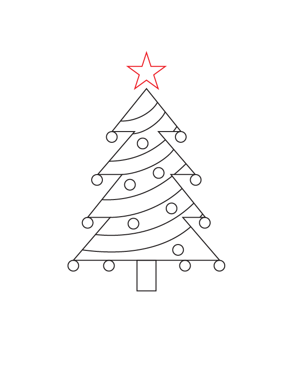 601x777 How To Draw A Christmas Tree Step By Step