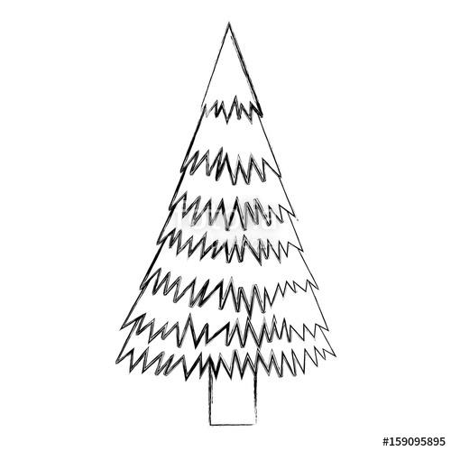 500x500 Sketch Draw Christmas Tree Cartoon Vector Graphic Design Stock