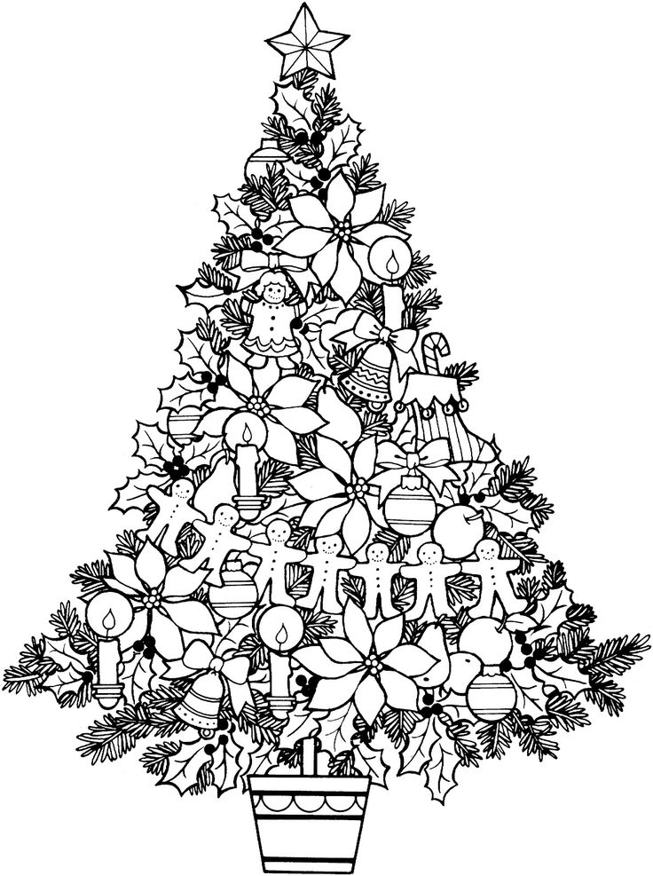 736x987 Christmas Tree Adult Coloring Pages For Good Draw Printable