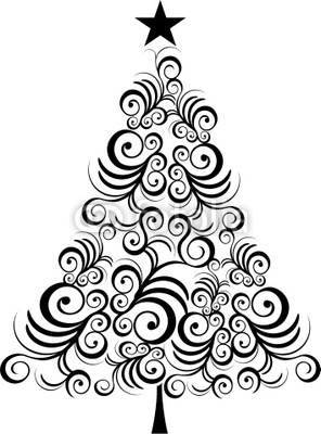 296x400 Christmas Tree Black Outline Wall Mural O PixersR We Live To
