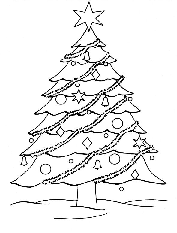 590x776 Santa Outline Christmas Tree Coloring Merry Amp Happy