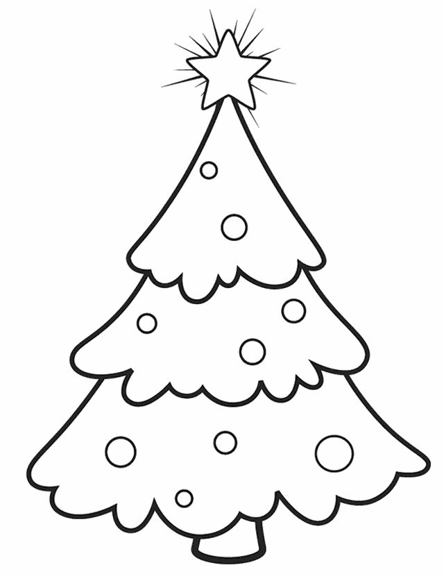 640x827 Christmas Tree Coluring Printable For Funny Draw Pict