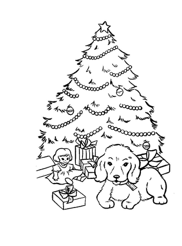 355x480 Christmas Presents And Gifts Under Christmas Tree Coloring Page