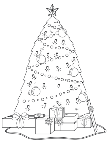 360x480 Decorated Christmas Tree With Presents Under It Coloring Page