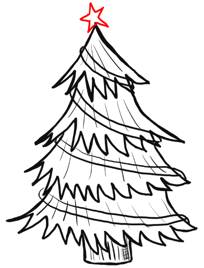 400x526 How To Draw Christmas Trees Step By Step Drawing Lesson