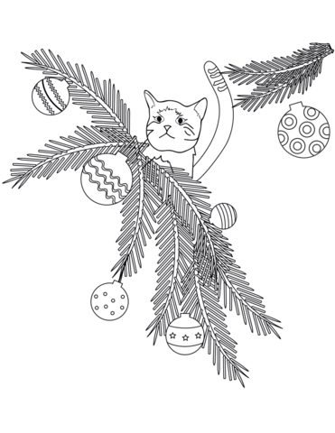 371x480 Cat In Christmas Tree Branches Coloring Page Free Printable