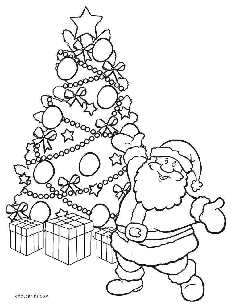 749x997 Printable Christmas Tree Coloring Pages For Kids Cool2bKids Santa