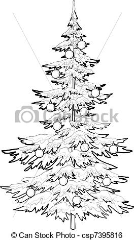 264x470 Christmas Tree With Ornaments, Contours. Christmas Holiday Clip