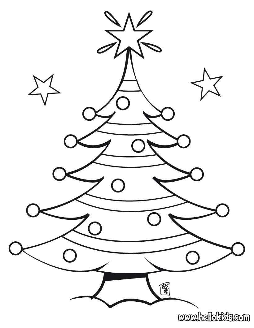 820x1060 Decorated Christmas Tree Coloring Pages