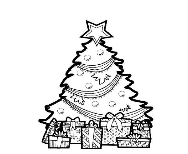 600x493 christmas tree and gifts coloring pages - Coloring Pages Of Christmas Trees 3