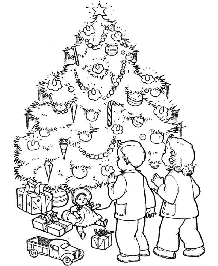 728x891 Colours Drawing Wallpaper Beautiful Christmas Tree And Kids