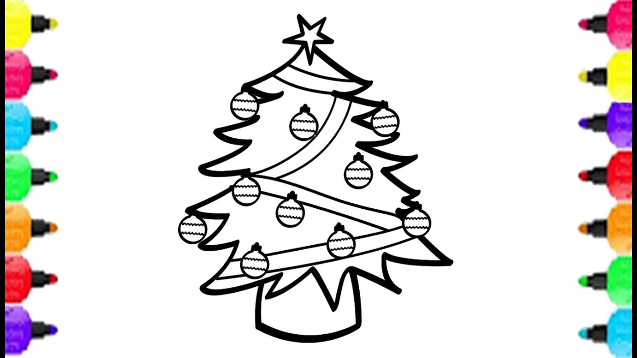 1280x720 Christmas Tree Coloring Pages How To Draw Pine Tree And Coloring