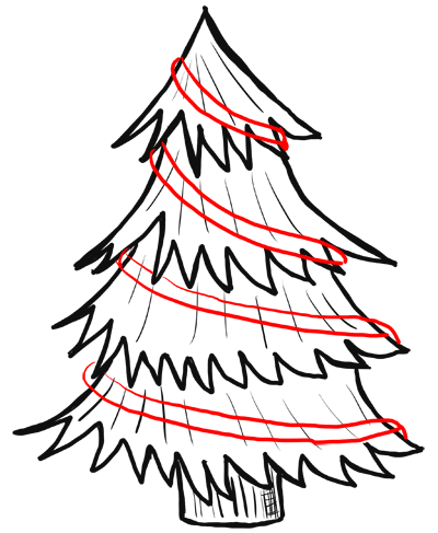 400x487 How To Draw Christmas Trees Step By Step Drawing Lesson